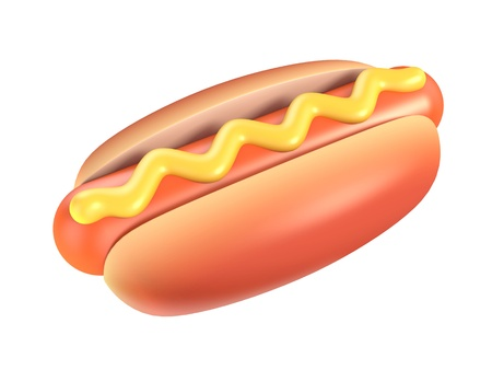 hot dog with mustard 3d illustration isolated on the white illustration