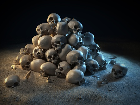 pile of skulls in the dark  photo