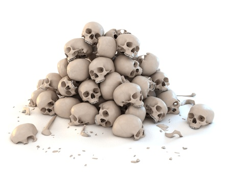 pile of skulls isolated over white 3d illustration  illustration