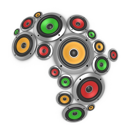 auditory: Africa music continent - many loudspeakers forming the shape of the African continent  Stock Photo