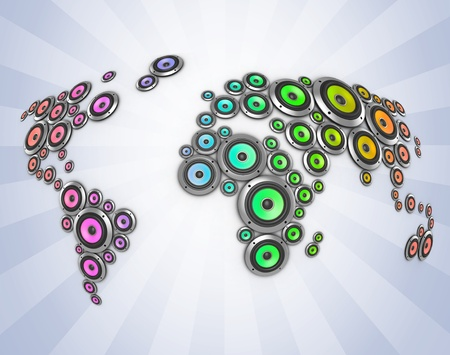 auditory: planet of sound 3d illustration - many loudspeakers forming the world map