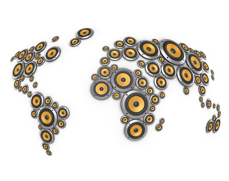 auditory: planet of sound 3d illustration - many loudspeakers forming world map