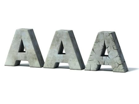 downgrade: credit rating downgrade - AAA 3d concept