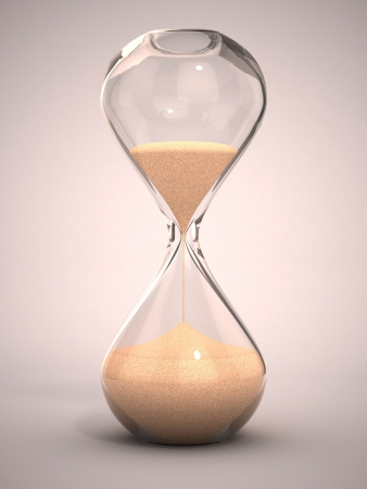 glasses in the sand: hourglass, sandglass, sand timer, sand clock 3d illustration