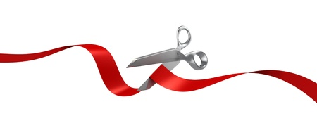 silver ribbon: scissors cutting red ribbon  Stock Photo