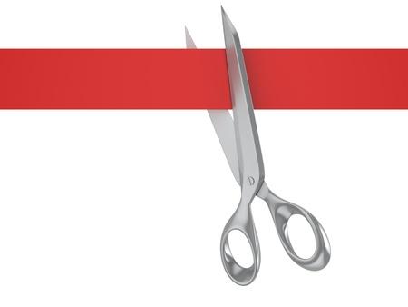 empezar: Las tijeras cortan el listón rojo, sobre fondo blanco, vista desde arriba Foto de archivo