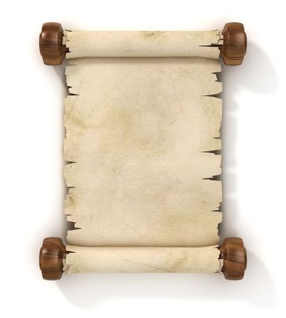 흰색 배경에 고립 된 양피지 스크롤 3D 그림