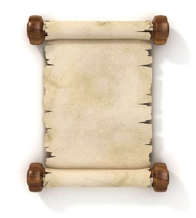papyrus: parchment scroll 3d illustration isolated on white background