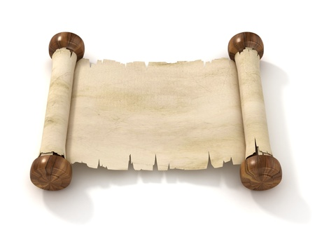 ancient books: parchment scroll 3d illustration isolated on white background