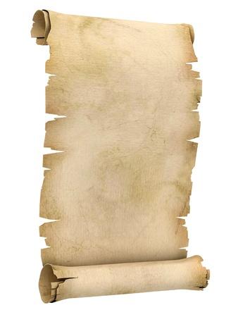 oud document: perkamentrol 3d illustratie geà ¯ soleerd op witte achtergrond