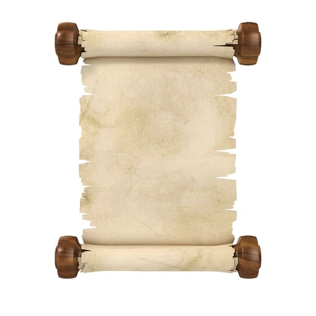 ragged: parchment scroll 3d illustration isolated on white background