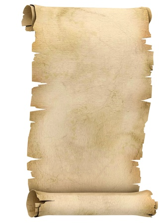 aged paper: parchment scroll 3d illustration isolated on white background