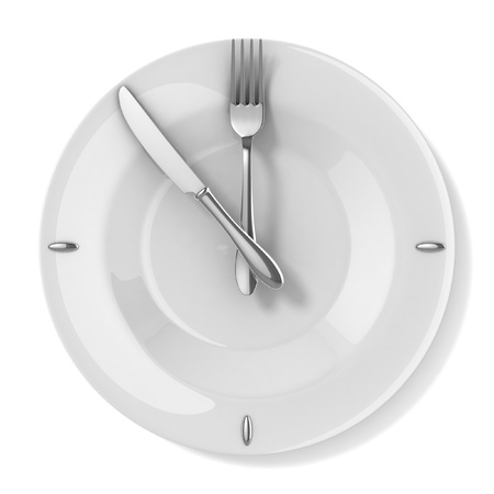 business dinner: meal time - eating 3d concept