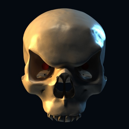 evil skull on dark background  photo