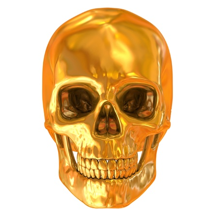 yellow teeth: golden skull isolated