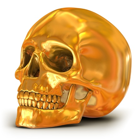 3d halloween: golden skull isolated