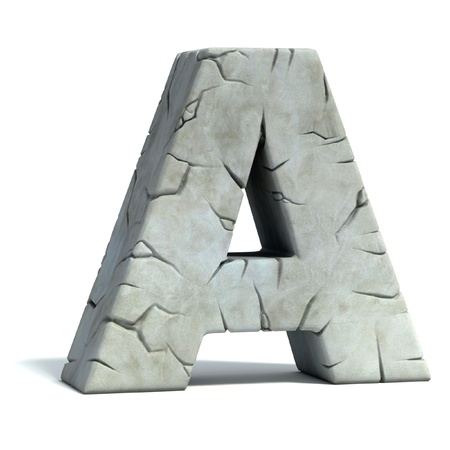 set in stone: letter A cracked stone 3d font