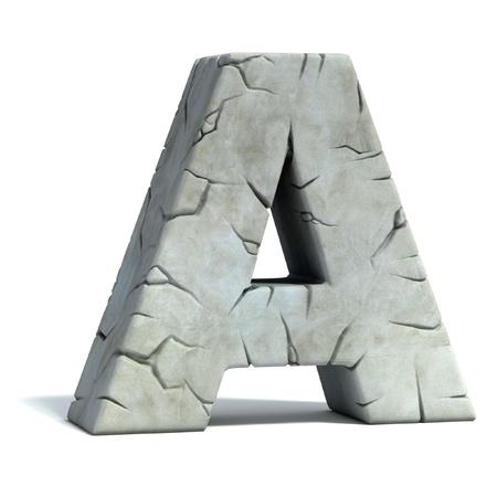 letter A gebarsten stenen 3d lettertype