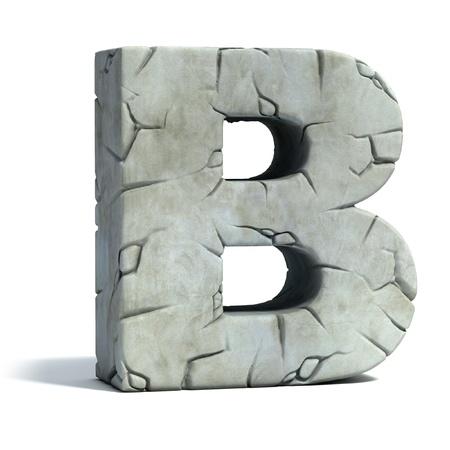capitel: letra B de la fuente de piedra agrietada 3d