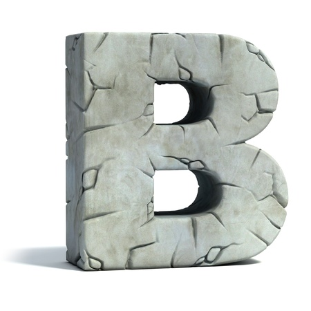 letter case: letter B cracked stone 3d font