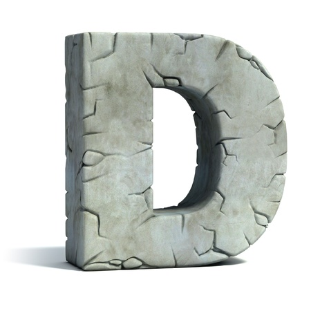 rocky: letter D cracked stone 3d font