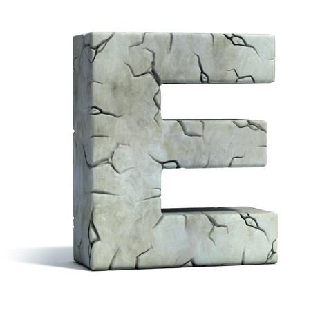 pila bautismal: letra E de la fuente de piedra agrietada 3d