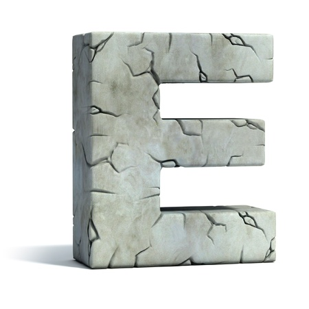 rocky: letter E cracked stone 3d font