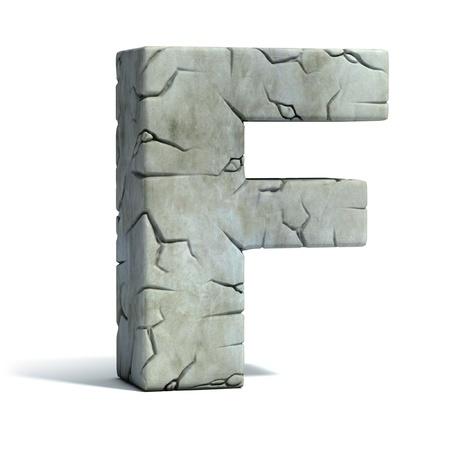 pila bautismal: la letra F de la fuente de piedra agrietada 3d Foto de archivo