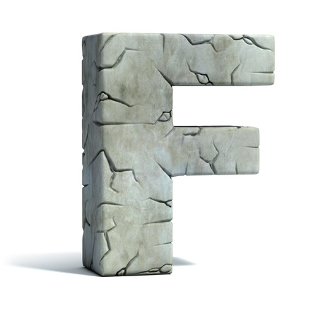 set in stone: letter F cracked stone 3d font  Stock Photo