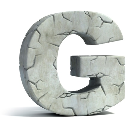 set in stone: letter G cracked stone 3d font  Stock Photo