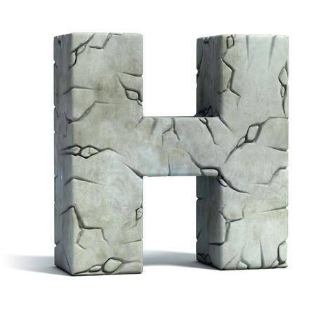 pila bautismal: letra H de la fuente de piedra agrietada 3d