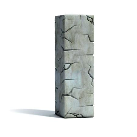 letter I cracked stone 3d font