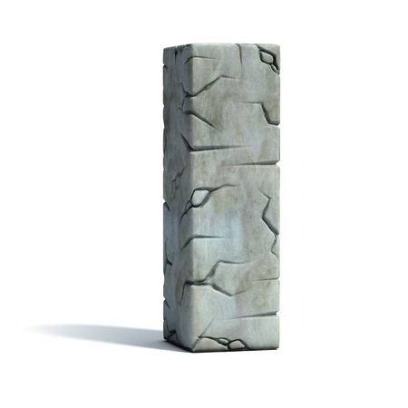 set in stone: letter I cracked stone 3d font