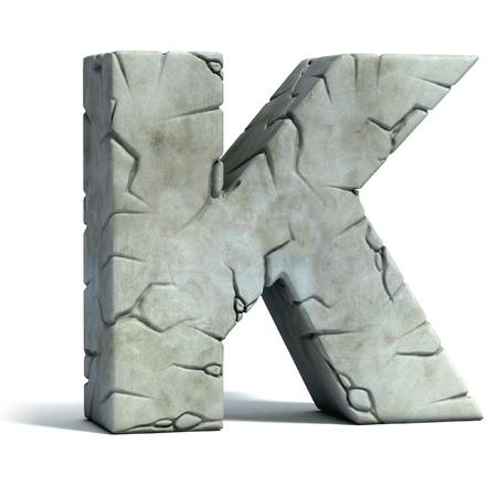 tipos de letras: letra K de la fuente de piedra agrietada 3d