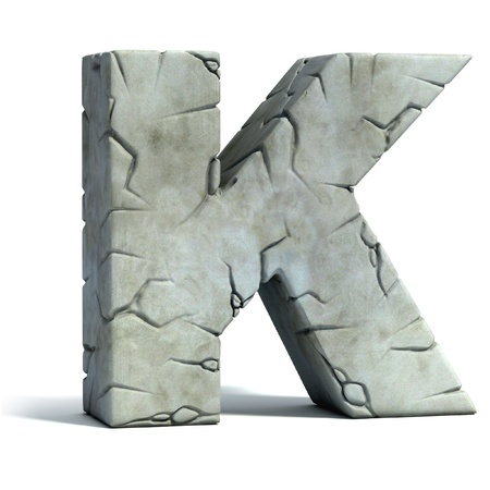 letter k: letter K cracked stone 3d font  Stock Photo