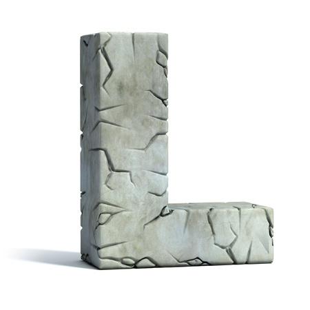 font: letra L de la fuente de piedra agrietada 3d