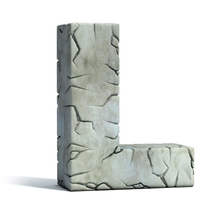 set in stone: letter L cracked stone 3d font
