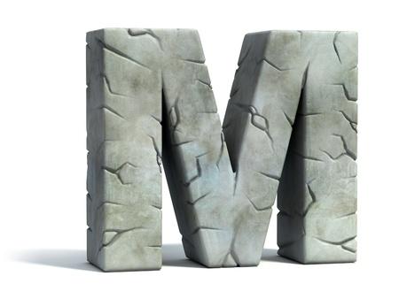 tipos de letras: la letra M de la fuente de piedra agrietada 3d Foto de archivo