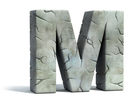 set in stone: letter M cracked stone 3d font