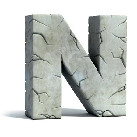 capitel: letra N de la fuente de piedra agrietada 3d Foto de archivo