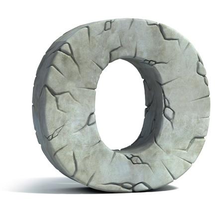 pila bautismal: letra O de la fuente de piedra agrietada 3d