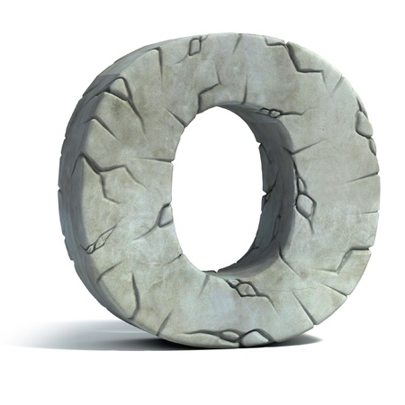 set in stone: letter O cracked stone 3d font
