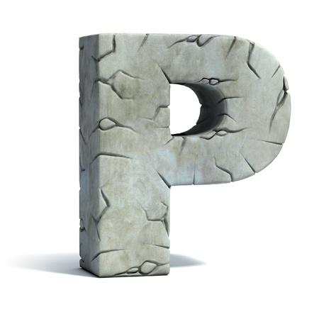 Edad de Piedra: letra P piedra agrietada de la fuente 3d