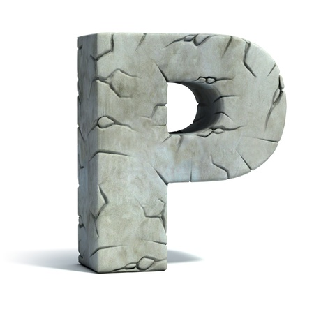 stone stones rock: letter P cracked stone 3d font