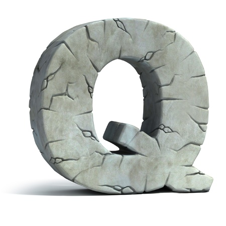 letter Q cracked stone 3d font  photo