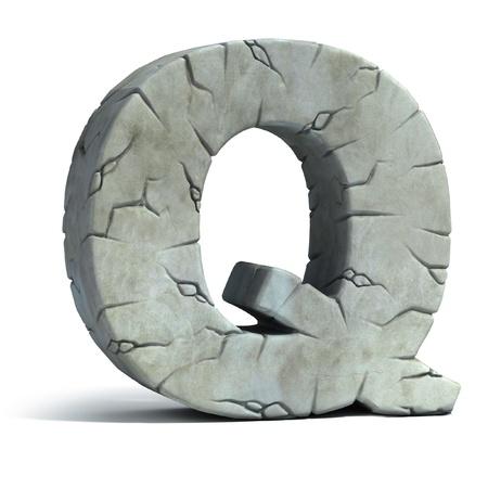 architecture alphabet: letter Q cracked stone 3d font