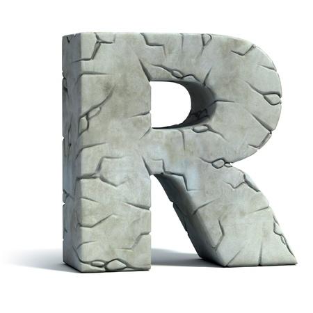edad de piedra: la letra R de la fuente de piedra agrietada 3d
