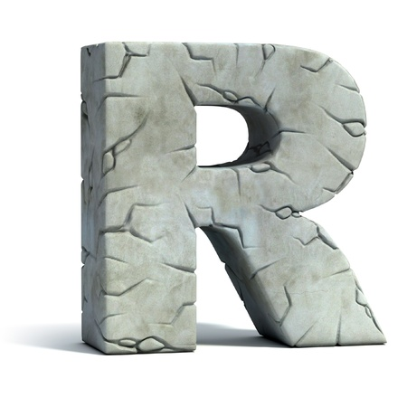 alphabet letter a: letter R cracked stone 3d font  Stock Photo