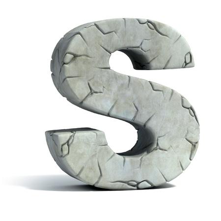 edad de piedra: la letra S de piedra agrietada 3d de la fuente Foto de archivo