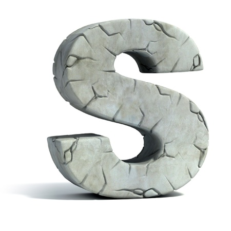 set in stone: letter S cracked stone 3d font